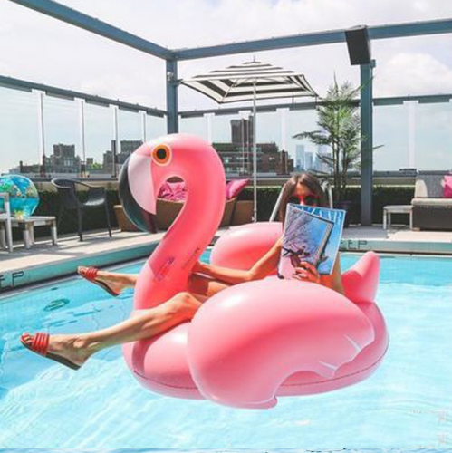 Inflatable Flamingo Pool Floats Pink Ride-on Swimming Circle Ring Adults Children Water Party