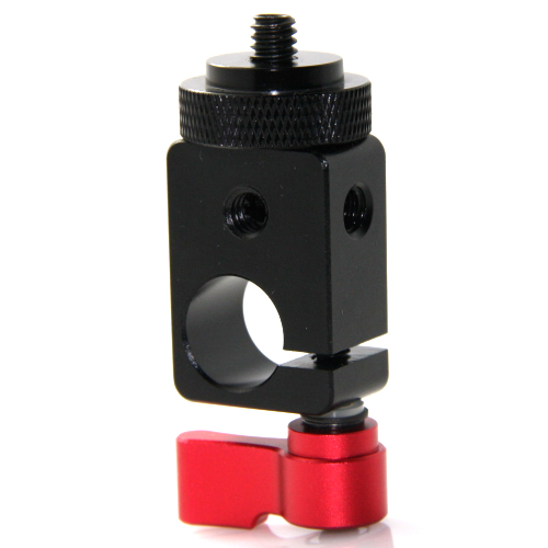 "CAMVATE Single Rod Clamp 15mm with 1/4"" Mount Screw Adapter (M5 Rotating Knob-Red)"