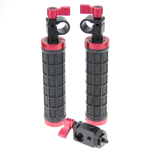 CAMVATE 2 PCS Camera Grip Handle with rod clamp for 15mm Rod Rig rail Support (Black & Red)