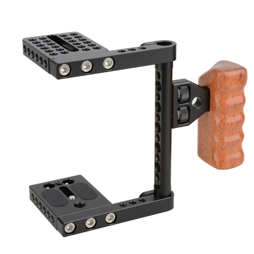 CAMVATE DSLR Video Camera Cage Stabilizer Rig with Wooden Handle for Canon Nikon Sony