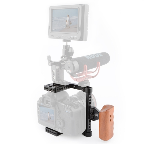 CAMVATE DSLR Video Camera Cage Stabilizer Rig with Wooden Handle(right)