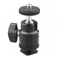 CAMVATE 1/4 Hot Shoe Mount Mini Ball Head Flash Bracket Holder Screw fr Camera Tripod