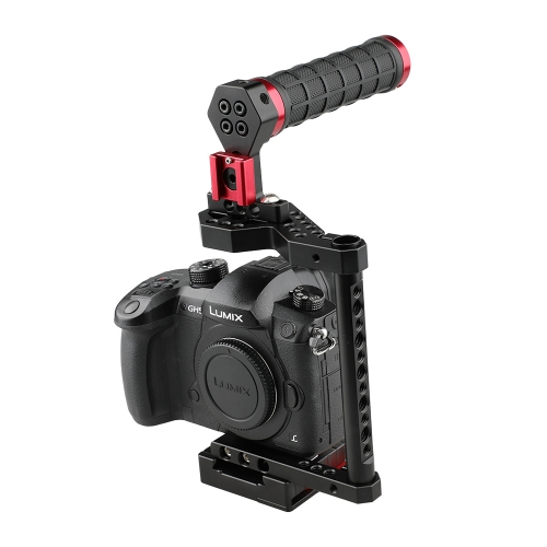 CAMVATE DSLR Cage with Top Handle for Canon 80D, Panasonic GH5, Nikon D810, Fujifilm X-T2