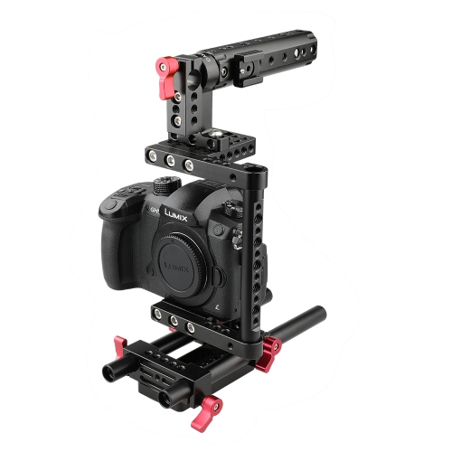 CAMVATE Camera Cage with Rail Support System for Canon Nikon Sony Panasonnic