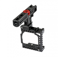 CAMVATE Handheld Camera Cage with QR Cheese Handle for Sony A6500 A6400 A6000 A6300 (Black)
