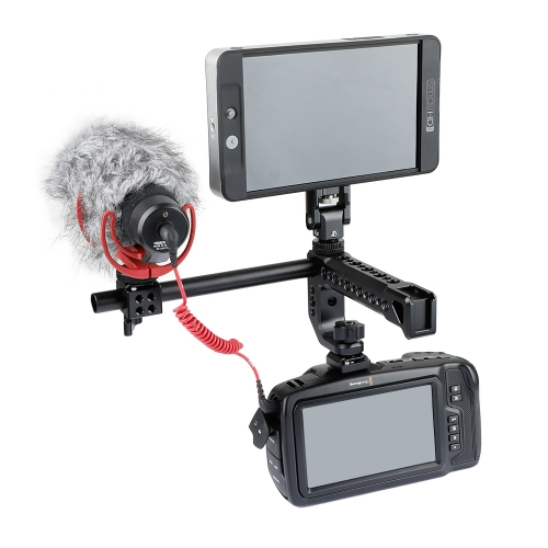 CAMVATE Aluminum Shoe Mount Handle With 15mm Rod And Monitor Support For DSLR Camera Cage