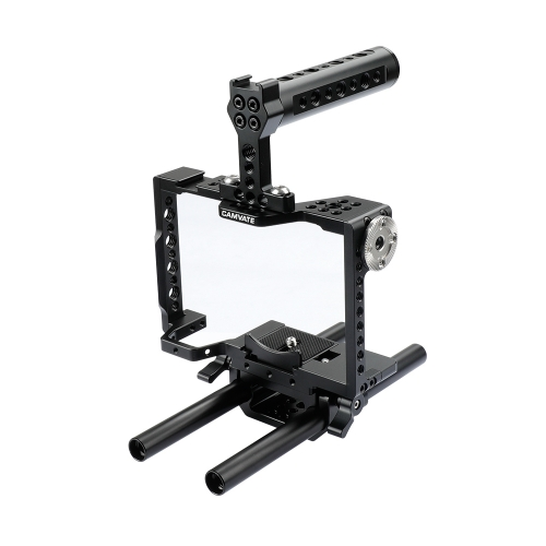 CAMVATE Camera Cage Rig With Top Handle & 15mm Dual Rod For Sony a7 II, a7R II, a7S II, a7 III, a7R III, a9 Series