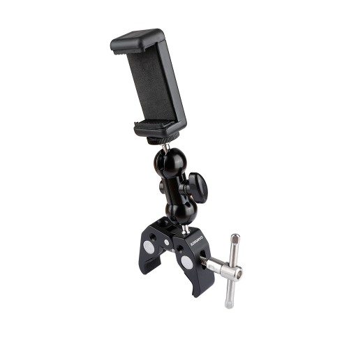 360 Rotating Mount Stand Holder Bracket w/Super Clamp for Cell Phone iPhone
