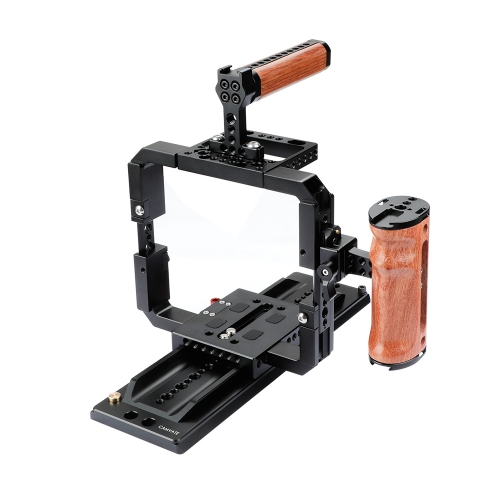 CAMVATE Quick Release Cage Rig With Wooden Grips & 12 ARRI Dovetail Bridge Plate For RED DSMC2 Video Cameras