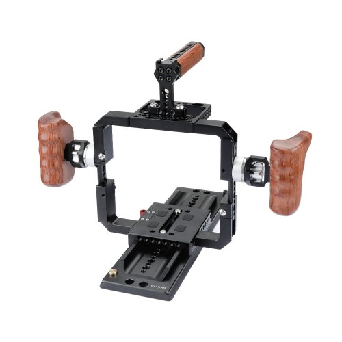 CAMVATE Solid Cage Rig With Wooden Grips & 12 ARRI Dovetail Bridge Plate For RED DSMC2 Video Cameras