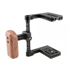 CAMVATE Compact Camera Half Cage Rig With NATO Left Handle Wooden Grip