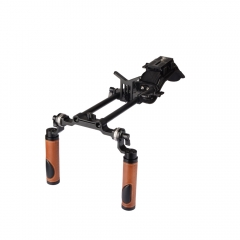 CAMVATE Pro Camcorder Shoulder Rig With Manfrotto QR Base Plate & ARRI Rosette Dual Handgrip
