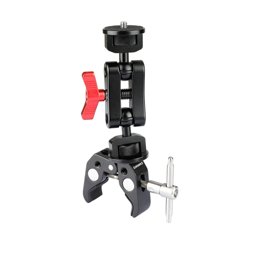 "CAMVATE Super Clamp With Ball Head Extension Arm Double-ended 1/4""-20 Screw Adapter"