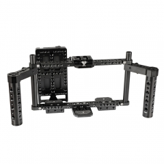 "CAMVATE Adjustable Camera 7"" Monitor Cage Rig With Dual Cheese Handle & Power Supply Splitter"