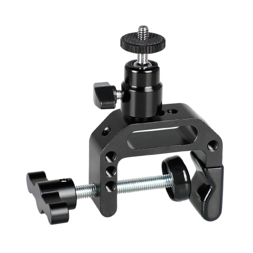 "CAMVATE Heavy-duty C Clamp Grip + 1/4""-20 Ball Head Support Holder (Black Locking Knob)"