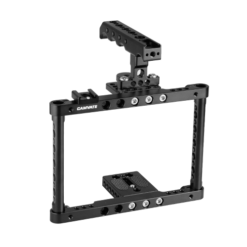 CAMVATE Camera Cage Kit Full Frame With Top Cheese Handle & Double Shoe Mount For Canon 600D 70D 80D