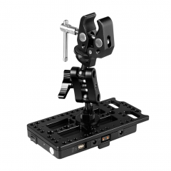 CAMVATE QR V Mount Power Splitter Battery Adapter Combined With Super Clamp & Ball Head Extension Support Arm