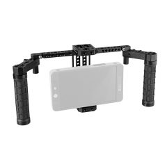 "CAMVATE Adjustable 7"" Monitor Cage Rig With Dual Rubber Handle & Support Bracket Accessory For SmallHD 700 Series"