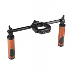 CAMVATE Dual Rod Handgrip Set (Leather) With Extension Mounting Ring For DJI Ronin S Gimbal Stabilizer