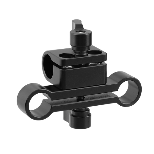 CAMVATE 15mm Single Rod Clamp & Dual Rod Clamp Adapter With Ratchet Locking Knob