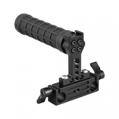 CAMVATE Rubber Hand Grip With Shoe Mount + 15mm Dual Rod Clamp Adapter For DSLR Camera Cage Kit