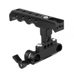 CAMVATE Top  Side Cheese Handgrip With 15mm Dual Rod Clamp Adapter For DSLR Camera Cage Rig