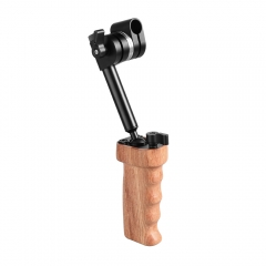 CAMVATE Wooden Handgrip With Built-in Ball Head Connection & 15mm Double Rod Clamp For Camera Cage Kit (Either Side)