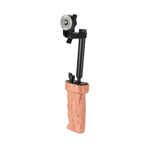 CAMVATE Wooden Handgrip With Ball Head Connection & Rosette Mount Joint For Camcorder Shoulder Rig (Either Side)
