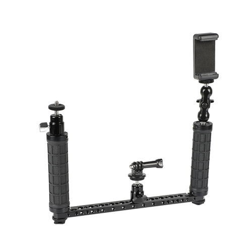 CAMVATE Dual Rubber Handgrip Supporting Rig With Mobile Phone Clip & Monopod Mount For GoPro HD HERO 1 2 3 4 Camera