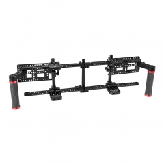 "CAMVATE Double Adjustable 7"" Director's Monitor Cage Rigs With Dual Rubber Grips & Double Battery Plate"