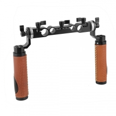 CAMVATE ARRI Style Rosette Handgrip Pair (Leather) With 15mm & 19mm Rod Clamp For Shoulder Mount Rig