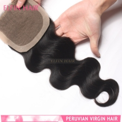 14A 8-18 Inch #1b 4*4 Silk Base Closure Peruvian Virgin Body Hair(Free Part, Middle Part & Three Part )