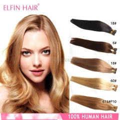 20'' Straight I-tip Human Hair Extension (1# 1B# 2# 4# 6# 8# 18# 33# 99J# 27# 60# 613# 24#)