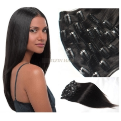 16-30 Inch 13A Grade Natural Black Straight #1B Color 8pcs/set Full Head Clip In Human Hair Extension