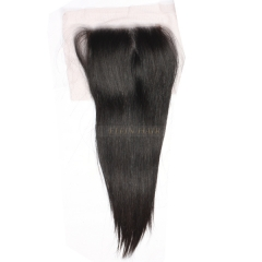 13A 8-20 Inch #1b 4*4 Lace Closure Brazilian Virgin Straight Hair(Free Part, Middle Part & Three Part )