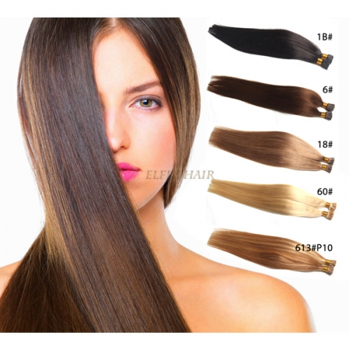 18'' Straight I-tip Human Hair Extension (1# 1B# 2# 4# 6# 8# 18# 33# 99J# 27# 60# 613# 24#)