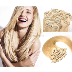 16-30 Inch #613 Color 13A Grade Honey Blonde Straight 8pcs/set Full Head Clip In Human Hair Extension