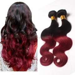 12-26 Inch #1b/99j Ombre Body Wave Remy Hair Weave 100g/bundle