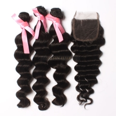 13A Virgin Hair Brazilian Loose Wave 3 Bundles+ 1Pc Lace Closure Free Shipping