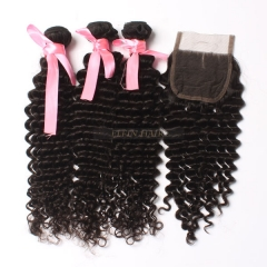 7A Virgin Hair Brazilian Curly 3 Bundles+ 1Pc Lace Closure Free Shipping