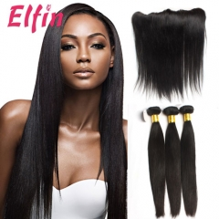 【3 Bundles & Big Closure】Brazilian Straight Hair 3 Bundles With 130% Density 13*4 Lace Frontal
