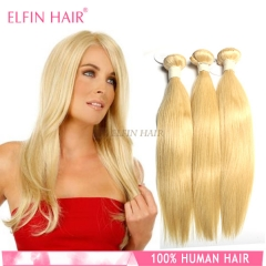 【14A 3PCS】3 Bundles #613 Straight Hair Russian Hair Blonde Color Virgin Hair Can Be Dyed