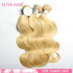 【14A 3PCS】 #613 Russian body wave Brazilian blonde hair extension Free Shipping