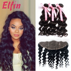 【3 Bundles+Frontal】3 Bundles Brazilian Loose Curly Virgin Hair With Lace Frontal 13*4 Big Closure Free Shipping