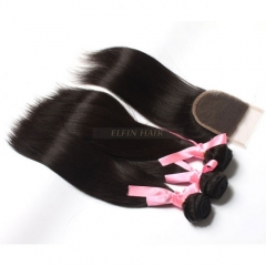 13A 【3+1】3 Bundles  Brazilian Straight + 1PC Lace Closure Human Virgin Hair Free Shipping