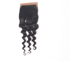 14A 8-18 Inch #1b 4*4 Silk Base Closure Brazilian Virgin Loose Curly Hair(Free Part, Middle Part & Three Part )