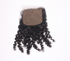 14A 8-18 Inch #1b 4*4 Silk Base Closure Brazilian Virgin Kinky Curly Hair(Free Part, Middle Part & Three Part )