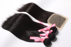 13A 1PC Silk Base Lace Closure +Virgin Hair Peruvian Straight Wave 3 Bundles+  Free Shipping