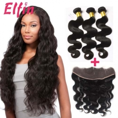 Hot-Sale!!!【3 Bundles+Frontal】Brazilian Body Wave Hair 3 Bundles With 13*4 Lace Frontal 100% Virgin Hair Natural 1B Color Hair