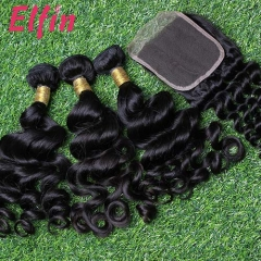 【14A 3pcs+closure】14A Brazilian Loose Curl 3 Bundles & Lace Closure Free Shipping